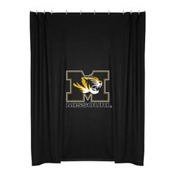 Sports Coverage - NCAA Missouri Tigers College Bathroom Accent Shower Curtain - Features: