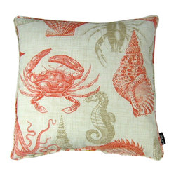 Sea Coral 18X18 Pillow (Indoor/Outdoor) - 100% polyester cover and fill.  Made in USA.  Spot clean only.  Safe for use indoors or out.