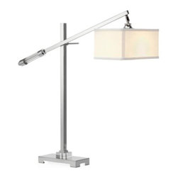 Z Gallerie - Walden Table Lamp - Clean-lined with contemporary aesthetic, our Walden Table Lamp illuminates your space with its stunningly simplistic silhouette. Exuding style, a slender polished chrome plated metal column intersects with a tilt arm, ensuring you achieve the desired height for your every need.  Finished with an off white rectangular linen shade, our Walden Table Lamp delivers modern aesthetics to define your room.