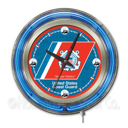 Holland Bar Stool - Holland Bar Stool Clk15CstGrd U.S. Coast Guard Neon Clock - Clk15CstGrd U.S. Coast Guard Neon Clock belongs to Military Collection by Holland Bar Stool Our neon-accented Logo Clocks are the perfect way to show your support for our troops. Chrome casing and a logo-complimenting neon ring accent a custom printed clock face, lit up by an brilliant white, inner neon ring. Neon ring is easily turned on and off with a pull chain on the bottom of the clock, saving you the hassle of plugging it in and unplugging it. Accurate quartz movement is powered by a single, AA battery (not included). Whether purchasing as a gift for your favorite soldier or as a gift for yourself, you can take satisfaction knowing you're buying a clock that is proudly made by the Holland Bar Stool Company, Holland, MI. Clock (1)