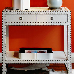 Marco Console/Large Side Table - TEXTURED LACQUERED GRASSCLOTH: SILVER NAILHEADS: SILVER RING PULLS