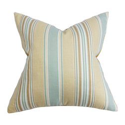 "The Pillow Collection - Hollis Stripes Pillow Blue - Enhance the look of your living space by infusing this lovely decor pillow. This striped accent pillow features muted shades of blue, beige, white and brown. Toss this throw pillow on your sofa, seat or bed for comfort and appeal. Pair this 18"" pillow with solids and other patterns for a lively decor scheme. Crafted with 95% cotton and 5% linen fabric. Hidden zipper closure for easy cover removal.  Knife edge finish on all four sides.  Reversible pillow with the same fabric on the back side.  Spot cleaning suggested."