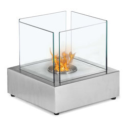"Ignis - Cube Tabletop Ventless Ethanol Fireplace - Say yes to warmth and comfort by adding this Cube Tabletop Ventless Ethanol Fireplace to any room. This compact tabletop fireplace is a freestanding unit that you can use on most table tops and that can be moved room to room if desired. It features a unique cube design that transforms it from functional tabletop fireplace to beautiful work of art. The glass-sided design of this unit allows you to fully experience the open flame provided by its 0.5-liter burner insert. It will burn for up to two hours between refills, and can be used indoors or outside on the deck, patio, or porch. Dimensions: 11.75"" x 11.75"" x 11.9"". Features: Ventless - no chimney, no gas or electric lines required. Easy or no maintenance required. Tabletop, Freestanding - can be placed anywhere in your home (indoors & outdoors). Capacity: 0.7 Liter. Approximate burn time - 2 hour per refill. Approximate BTU output - 2000."