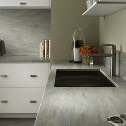 Corian® Juniper countertop & backsplash. - Photo by DuPont