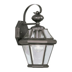 Livex Lighting - Livex Lighting 2161-07 Georgetown 1-Light Outdoor Wall Lantern in Bronze - This 1 light Outdoor Wall Lantern from the Georgetown collection by Livex will enhance your home with a perfect mix of form and function.