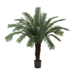 Nearly Natural - 5' Cycas Tree UV Resistant (In-door/Out-Door) - Here's a tropical / jungle tree that looks so real, you'll be reaching for your machete to get through (we're kidding - put the machete down!) This Cycas tree stands 5 feet in height, and is it ever pretty. With a beautiful trunk that explodes into green, leafy fronds, this is an ideal home or office decoration. Plus, it's weather and UV resistant, making it a perfect 'indoor / outdoor' decorating option. Makes a fine gift, too.