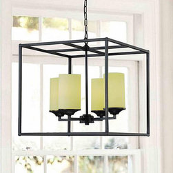 Matte Black 4-light Pillar Chandelier - Add some geometry to a rectangular foyer or entryway with this square metal chandelier. I'd keep the walls and ceiling light in color and let the dark metal frame of the light be the center of attention.