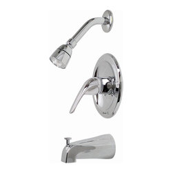 "Premier - Bay view Single-Handle Tub and Shower Faucet - Chrome - Single Loop Handle Tub & Shower Set Chrome Plated Finish 1/2"" IPS Connection."
