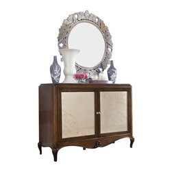 "American Drew - American Drew Jessica McClintock Entertainment/ Credenza with Mirror in Mink - Welcome to the Jessica McClintock Home, by American Drew. This Collection combines the romantic elements of Jessica into a ""New Traditional"" styling. This collection truly captures the past, present and future together. The combination of materials such as fine veneers, marble, leather and mirror, the dramatic serpentine and bowed shapes, he use of elements from fashion and nature, and the custom, jewelry-like hardware all add a unique flare to this collection that is like nothing before. This Collection is crafted from highly figured Walnut Veneers, Prima Vera and Maple Marquetry in a Mink finish. A Silver Leaf finish is offered on select pieces, giving them a soft, veiled-platinum appearance. Unique pieces abound in Jessica McClintock Home. The Antiqued Mirror Leg Dining Table, the Silver Leafed Leather Bed with Crystal-like buttons, the Dressing Armoire and Silver Leaf Serpentine Chest all create beautiful focal points in every room of your home. Gracious scaled items, eclectic mixture of materials and designs and the romantic touch of Jessica come together to create a collection of furniture that will add a high end style to any home."