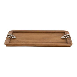 Arteriors Home - Isla Tray - Isla is the wooden version of our best selling Bordeaux tray featuring rounded corners and those same Polished Nickel metal ring handles. Made of reclaimed Teak wood in a natural finish. Available in two sizes. Small: 18.5 inch width x 13.5 inch depth x 2 inch height. Large: 24 inch width x 18 inch depth x 2 inch height.