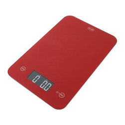"American Weigh Scales - Thin Digital Kitchen Scale Red - ONYX Red Kitchen Scale from American Weigh features a modern black glass and plastic construction. The touch activated keys also make for an elegant and clean design. With the back-lit reverse LCD display weighing is quick and easy. Fluid ounce and milliliter modes for liquid measurement Super thin - only 0.6"" tall 4 high precision G-Force Load Sensors Powered by 2 long-life lithium batteries (CR2032)."