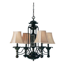 "Meyda Tiffany - 30""W Eaton 4 Lt Chandelier - Cut cornered Wheat fabric shades top this Kensington Bronze hand finished four light chandelier. The gracefully curving arms accent the fluted carved arms and body."