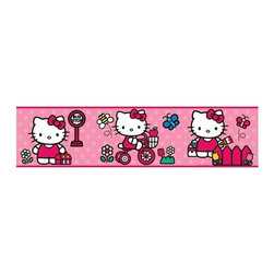 RoomMates Peel & Stick - World of Hello Kitty Border - Bring the fun and style of hello kitty into any girl's room with this adorable peel and stick border. This ultra cute design features pink polka dots, butterflies, flowers, and Hello Kitty in three classic poses. Looking for even more hello kitty? Add in the giant wall decal or removable wall decals to complete your fabulous hello kitty room makeover!