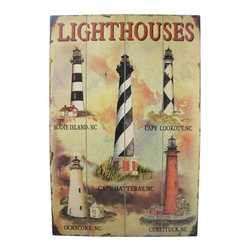 """Handcrafted Model Ships - Wooden Lighthouse Wall Plaque 24"""" Lighthouse Decorations Nautical Lighthouse - Immerse yourself in the warm ambiance of the beach, imagine golden sands between your toes as you listen to the gentle sound of the waves, while you enjoy Handcrafted Nautical Decor's fabulous lighthouse plaques. Perfect for welcoming friends and family, or to advertise a festive party at your beach house, bar, or restaurant, this Wooden Lighthouse Wall Plaque 24"""" sign will brighten your life. Place this lighthouse sign up wherever you may choose, and enjoy its wonderful style and the delightful beach atmosphere it brings."""