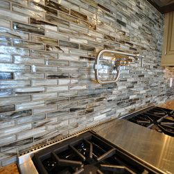 Tozen Glass Tile Kitchen Backsplash - Tozen 1 x 4 Vanadium Natural Brick used in a kitchen backsplash