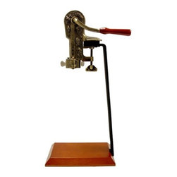 """Vinotemp - Epicureanist Connoisseur Corkscrew with Stand - Impressively remove corks with the Epicureanist Connoisseur Wine Opener and Stand. While featuring an antique design with a wood handle, the innovative wine opener can be used with or without the stand. Features: -Removable wine opener with wood handle . -Iron and wood stand . -Dimensions: 23.5"""" H x 6.5"""" W x 11"""" D ."""