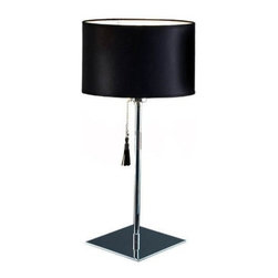 """Decor Walther - Decor Walther Room 25 Table Lamp - The Room 25 table  lamp has been designed and made by Decor Walther      .The  table lamps Room 20 and room 25 by Decor Walther combine  timeless  aesthetics and classical elegance. The lamp shade is available  in  cylindrical or conical shapes and consist of leather in the colours   black, drak brown, caramel and orange. The design is complemented by a   pull switch with a fitting leather tuft. the main cable has a fabric   covering. room's structure is completely chromed. Room is also available   as a floor lamp.  Product Details:  The Room 25 table  lamp has been designed and made by Decor Walther     .The  table lamps Room 20 and room 25 by Decor Walther combine timeless  aesthetics and classical elegance. The lamp shade is available in  cylindrical or conical shapes and consist of leather in the colours  black, drak brown, caramel and orange. The design is complemented by a  pull switch with a fitting leather tuft. the main cable has a fabric  covering. room's structure is completely chromed. Room is also available  as a floor lamp. Details:                                     Manufacturer:                                      Decor Walther                                                                  Designer:                                     In House Design                                                                  Made in:                                     Germany                                                                  Dimensions:                                      Diameter: 10.24"""" (26 cm) X Height: 21.26"""" (54 cm)                                                                  Light bulb:                                      1 x E27 Max 100W                                                                   Material:                                      Metal"""
