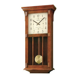 Seiko - Seiko Mission Pendulum Wall Clock - 12.5-in. Wide Multicolor - QXH045BLH - Shop for Clocks from Hayneedle.com! With its subtle Mission-style design the Seiko Mission Pendulum Wall Clock - 12.5-in. Wide will make a stately addition to your traditional home. Finely crafted in warm brown wood with a gold-tone pendulum this wall clock features Westminster/Whittington quarter-hour chimes and hourly strikes precise quartz movement nighttime chime silencer and volume control. Its cream dial features black hands and black numerals behind a glass crystal lens. Battery operated it requires one C battery which is included and easy to change. About SeikoOver its 120-year history as a maker of fine timepieces the Seiko name has become synonymous with cutting-edge technology ultra-precision constant innovation and refinement. Millions worldwide rely on Seiko wristwatches to keep them on schedule. Two generations have grown up thrilling to Olympic and World Cup competitions where victory or defeat is defined within a fraction of a second all overseen by Seiko timekeepers. Seiko's far-reaching modern empire has its roots in a humble Tokyo clock repair shop opened by Kintaro Hattori in 1881 nearly a century before the introduction of its first landmark wristwatch. Today Seiko continues to offer a wide array of clocks and movements for any home including wall alarm desk mantel musical and heirloom quality decorative pieces. Beautiful on the outside quality components on the inside Seiko products will serve you for years to come.