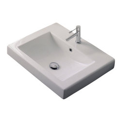 Scarabeo - Square White Ceramic Built-In Sink, One Hole - Contemporary design built-in square white ceramic sink. Stylish drop-in bathroom sink with overflow. Available with no hole, one hole, or three holes. Made in Italy by Scarabeo.