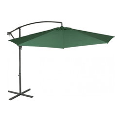 Sturdi Plus, Round Cantilever, Aluminum Garden Parasol, Crank, Plain Green - If your garden table doesn't have a hole for a parasol pole, then choose a cantilever design.