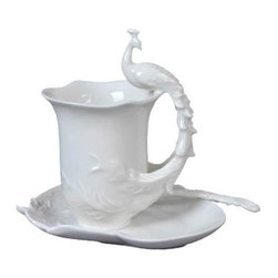 US - 6.25 Inch White Porcelain Perched Peacock Handle Coffee Set and Spoon - This gorgeous 6.25 Inch White Porcelain Perched Peacock Handle Coffee Set and Spoon  has the finest details and highest quality you will find anywhere! 6.25 Inch White Porcelain Perched Peacock Handle Coffee Set and Spoon  is truly remarkable.