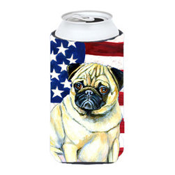 Caroline's Treasures - USA American Flag with Pug Tall Boy Koozie Hugger - USA American Flag with Pug Tall Boy Koozie Hugger Fits 22 oz. to 24 oz. cans or pint bottles. Great collapsible koozie for Energy Drinks or large Iced Tea beverages. Great to keep track of your beverage and add a bit of flair to a gathering. Match with one of the insulated coolers or coasters for a nice gift pack. Wash the hugger in your dishwasher or clothes washer. Design will not come off.
