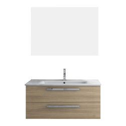 ACF - 38 Inch Natural Oak Bathroom Vanity Set - This Italian-made bathroom vanity set features a waterproof panel made of engineered wood in a beautiful natural oak finish.