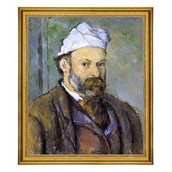 """Paul Cezanne-16""""x20"""" Framed Canvas - 16"""" x 20"""" Paul Cezanne Self Portrait in a White Cap framed premium canvas print reproduced to meet museum quality standards. Our museum quality canvas prints are produced using high-precision print technology for a more accurate reproduction printed on high quality canvas with fade-resistant, archival inks. Our progressive business model allows us to offer works of art to you at the best wholesale pricing, significantly less than art gallery prices, affordable to all. This artwork is hand stretched onto wooden stretcher bars, then mounted into our 3"""" wide gold finish frame with black panel by one of our expert framers. Our framed canvas print comes with hardware, ready to hang on your wall.  We present a comprehensive collection of exceptional canvas art reproductions by Paul Cezanne."""