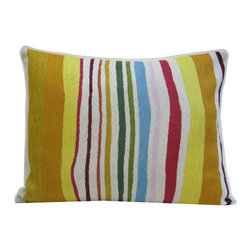 Kim Parker Inc. - Tuscan Stripe Pillow Without Insert - Yellow, yes — but anything but mellow. Strong, freeform stripes and the luxury of 100 percent New Zealand wool make a bold, modern statement.