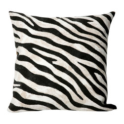 "Trans-Ocean - Zebra Black Pillow - 20"" SQ - The highly detailed painterly effect is achieved by Liora Manne's patented Lamontage process which combines hand crafted art with cutting edge technology.These pillows are made with 100% polyester microfiber for an extra soft hand, and a 100% Polyester Insert.Liora Manne's pillows are suitable for Indoors or Outdoors, are antimicrobial, have a removable cover with a zipper closure for easy-care, and are handwashable."