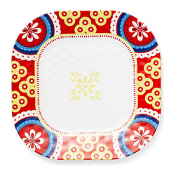 Q Squared NYC - Montecito Red Melamine Dinner Plate, Border - Transport your dining table to historical Montecito with the beautiful, vibrant colors of this collection, inspired by the intricate tiles and textures of the romantic city.