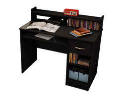 South Shore - South Shore Axess Small Wood Computer Desk with Hutch in Pure Black - South Shore - Computer Desks - 7270076 - This Axess desk is the perfect answer to organizing clutter in your child's room. It features a compact design yet includes space for everything needed for schoolwork and projects. A low hutch offers shelving for books or keepsakes, and the spacious desktop offers plenty of room to spread out homework or house a laptop. Underneath the desktop, a sliding tray keeps a computer keyboard ready for use until its needed. Flexible storage options include a drawer and two open compartments that offer room for a CPU, writing supplies and paper. The desk also features a pure black finish to complement most room decors as well as other Axess pieces.