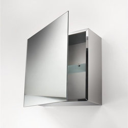 WS Bath Collections - Pika 17 in. Medicine Storage Cabinet w Mirror - Stainless Steel with Mirrored Door. Safety Glass Shelf. Surface Mount. Made in Italy. Product Material: Stainless Steel. Finish/Color: Silver. Dimensions: 17.7 in. W x 17.7in. L