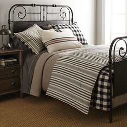 """Lauren Ralph Lauren - Lauren Ralph Lauren Full/Queen Blanket, 90"""" x 90"""" - Black, cream, and charcoal bed linens of pure cotton. Striped, yarn-dyed comforters are accented with red topstitching and have a buffalo-check reverse. Twin comforter set includes 66"""" x 86"""" comforter and one matching standard sham. Full/queen comfo..."""