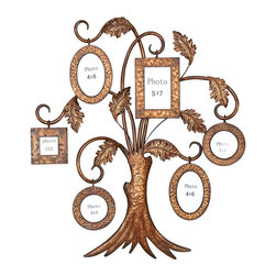 Aspire - Family Tree Picture Frame Wall Decor - This large family tree wall hanging is a creative way to display family photos. Fitted with 6 assorted frames, you won't have to ask who is who at the next family reunion. Metal. Color/Finish: Antique Gold. Holds (1) 3x3, (2) 4x6, (2) 4x4, (1) 5x7. 33 in. H x 28 in. W x 4 in. D. Weight: 9 lbs.