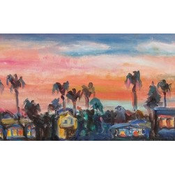 On The Rooftop (Original) By Dixie Galapon - This piece was created en plein air - meaning it was created outdoors. It is a view of the Mission Hills neighborhood in San Diego, California. I have a good friend/artist who has this incredible view from the top level of her home. A group of us artists got together to paint these lovely San Diego sunset views. I'm happy to call San Diego my home. I love the sunset sky and the glow of the windows in this painting.
