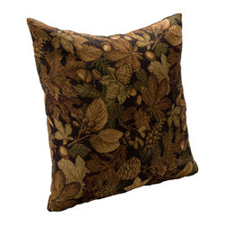 None - Oakley Square Accent Pillow - Add some warmth to your living room or bedroom decor with a leaf-print accent pillow that features deep brown,green,and yellow hues. The 20' square pillow is just the right size to make an impression in your space and to help with back support.