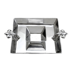 Arthur Court - French Lily Chip & Dip - This gleaming aluminum tray is sure to be a hit at your next party. As host, you can hoist it by the French lily handles and ensure every guest has a chance to savor your snacks.