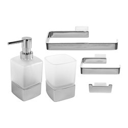 Gedy - 5-Piece Square Wall Mounted Bathroom Accessory Set in Chrome - Stylish, trendy 5-piece wall mounted bathroom accessory set which includes hook, towel holder, toilet paper holder, toothbrush holder, and soap dispenser. Collection made of chromed brass. Bathroom accessory set. Made out of chromed brass. From the Gedy Lounge collection. Included in set:. (1) Toilet Paper Holder Gedy 5424-13. (1) Towel Hanger Gedy 5470-13. (1) Hook Gedy 5426-13. (1) Soap Dispenser Gedy 5455-13. (1) Toothbrush Holder Gedy 5498-13.