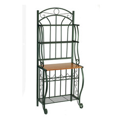 Forest Green Baker's Rack with Wine Rack