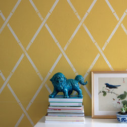 Pro Bamboo Trellis Stencil - Allover Pro Bamboo Trellis wall stencil. Classic oriental-inspired bamboo trrellis stencil pattern provides a perfect backdrop for a stenciled feature wall or allover hand painted wallpaper treatment.