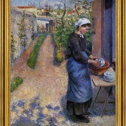 "Camille Pissarro-18""x24"" Framed Canvas - 18"" x 24"" Camille Pissarro Young Woman Washing Plates framed premium canvas print reproduced to meet museum quality standards. Our museum quality canvas prints are produced using high-precision print technology for a more accurate reproduction printed on high quality canvas with fade-resistant, archival inks. Our progressive business model allows us to offer works of art to you at the best wholesale pricing, significantly less than art gallery prices, affordable to all. This artwork is hand stretched onto wooden stretcher bars, then mounted into our 3"" wide gold finish frame with black panel by one of our expert framers. Our framed canvas print comes with hardware, ready to hang on your wall.  We present a comprehensive collection of exceptional canvas art reproductions by Camille Pissarro."