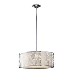 "Murray Feiss - Murray Feiss F2638/3CH Chandelier - Chrome - Material: Stainless Steel. Off White Linen Shade. Number of Bulbs: 3. Bulb Base: Medium (E26). Bulb Type: Incandescent. Bulb Included: No. Watts Per Bulb: 100. Wattage: 300. Voltage: 120. Height: 9"". Diameter: 19.75"". Canopy Diameter: 6"". Backplate Diameter: 6"". Wire Length: 180"". Energy Star: No. UL Listed: Yes. UL Rating: Dry Location."