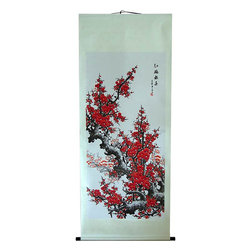"Oriental-Decor - 66"" Blooming Large Sakura Flowers Chinese Scroll Painting - The sakura blossom is one of the most beautiful and celebrated flowers in the world. A red color with pink undertones, the sakura is not only attractive, but considered one of the luckiest colors in Chinese culture. If you are looking to add a dashing and vibrant decorative appearance to a room, this large 66 inch tall hand-painted scroll is ideal. This special scroll is stunning when seen in person and will serve as an eye-catching centerpiece on any wall."