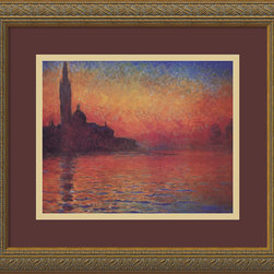 "Amanti Art - ""Dusk, Sunset in Venice, 1908"" Framed Print by Claude Monet - Get lost in the mysterious tranquility of Monet's Venice masterpiece. The gallery-quality reproduction comes custom-framed in an antique gold wood. You'll almost hear the soft-rippling water each time you admire this fiery twilight."