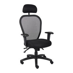 """Boss Chairs - Boss Chairs Boss Mesh Chair with 3-Paddle Mechanism and Headrest - Ergonomic open mesh back designed to provide exceptional back support. 3 paddle multi-function tilting mechanism. Breathable mesh fabric seat with ample padding. Adjustable height armrests with soft polyurethane pads. Seat tilt lock allows seat to lock throughout the tilt range. Back angle lock allows the seat to lock throughout the angle range for perfect back support. Padded back frame. Pneumatic gas lift seat height adjustment. Adjustable tilt tension control. Large 27"""" nylon base for greater stability. Hooded double wheel casters. With optional head rest."""