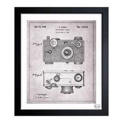 """The Oliver Gal Artist Co. - ''Fassin Camera 1938 Gray' 10""""x12"""" Framed Art - Exclusive blueprints inspired by real vintage patent drawings & illustrations. Handcrafted in the Oliver Gal Artist Co. Studios in Miami, Florida. Produced on matte proofing paper and hand framed by professional framers in a 1.2"""" premium black wood frame. Perfect for any interior design project, gifts, office décor, or to add special value to one of your favorite collections."""