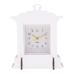 WOLF - Wooden Jigsaw Grand Mantel Clock, White - Easy and fun to assemble (no tools required), this clock creates a 3-dimensional appearance out of four flat wooden cross-sections stacked back-to-front, reminiscent of a pop-up book construction.