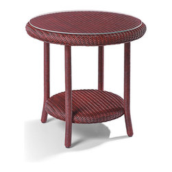 Frontgate - Chatham Outdoor Side Table, Patio Furniture - Crafted with a timeless, unique process for fine woven furniture. Features decorative braided cord. Finished with two coats of environmentally friendly, polyester resin-based paint and wiped by hand to give a unique look. Rocker includes cushion featuring exclusive Sunbrella® fabrics, the finest solution-dyed, all-weather material available. Table features an attractive tempered glass top. Our quest for classic Americana porch furniture led us to a family business in Michigan that has been handcrafting award-winning wicker furniture for more than 100 years; it produced this exquisite Chatham Rocker and Side Table. Using time-honored techniques, artisans weave the wicker from twisted craft paper, then reinforce it with aluminum wire and coat it in latex to ensure its resistance to the elements. Wicker is hand-fitted over aluminum frames and given a durable paint finish in classic American colors.. . . Rocker includes cushion featuring exclusive Sunbrella fabrics, the finest solution-dyed, all-weather material available. . Spot clean the cushion; wipe table and rocker with a damp cloth. 3-year manufacturer's warranty . Made in the USA.