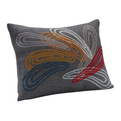 """Coyuchi - Color Splash Dec Pillow 12""""x16"""" Charcoal w/Multi - Chevron stitching traces colorful overlapping teardrops on charcoal linen. Coconut shell buttons close the back. Removable kapok insert included."""